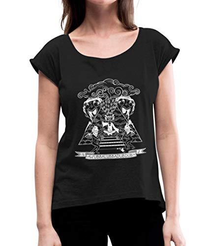 Rick Et Morty Wubba Lubba Dub Dub Pyramide T-Shirt à Manches retroussées Femme, M, Noir