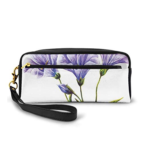 Pencil Case Pen Bag Pouch Stationary,Wild Flowers Drawing of Romantic Summer Theme Mother Earth Art,Small Makeup Bag Coin Purse