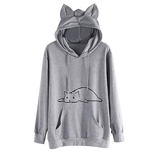 FORUU Women's Cat Hoodies, Cute Printed Winter Pocket Cat Hooded Pullover Sweater