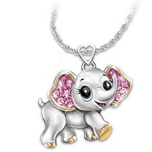 SIOPEW Halskette Cartoon Süß Perle Kristall Elefant AnhäNger Schmuck Mode SchlüSselbein Kette Geburtstagsgeschenke FüR Kleine MäDchen Und Jungen