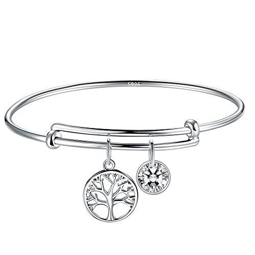 J.Endéar Armband Lebensbaum Silber 925 für Damen, Armreif mit Zirkonia Anhänger verstellbare Charms, kommt in Einer Geschenkbox