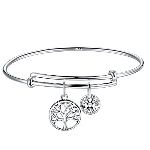 J.Endéar Tree of Life Silver Bracelet for Women, Adjustable Silver Charm Bracelet Bangle, Add-on Zirconia Pendants Bracelet, Packing in Elegant Jewelry Box