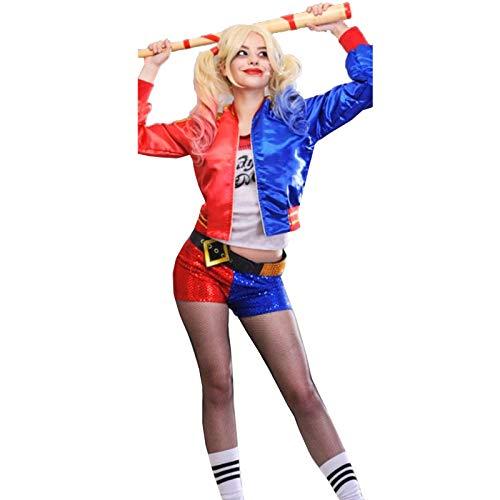 Damen Bomberjacke Harley Quinn Suicide Squad Cosplay mit Reißverschluss, metallisch, glänzend, Größe S-XL Gr. XL, Rot und Königsblau