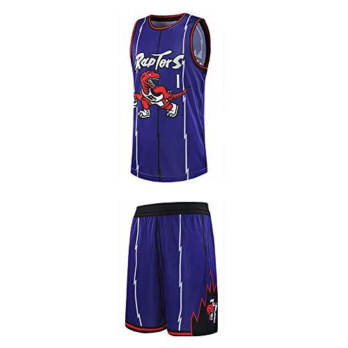 Ordioy Maglie da Basket Classiche da Uomo, NBA Toronto Raptors # 1 Tracy McGrady Fans Uniformi da Allenamento, Maglia Felpa Traspirante Gilet + Pantaloncini Set Miglior Regalo,Viola,3XL