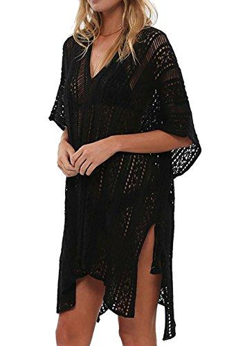 Beskie Bathing Suit Cover Up Bikini Swimsuit Crochet Beachwear Swimwear Dress Black