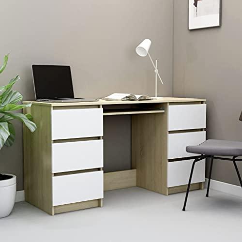 HUANGDANSP Escritorio de aglomerado Blanco y Roble Sonoma 140x50x77 cm Mobiliario Mobiliario de Oficina Escritorios