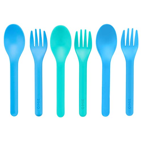 OmieBox Kids Utensils Set - Plastic, Reusable Fork and Spoon Silverware Set for Kids, Travel, Lunch Boxes - 3 Pair (Blue/Green)