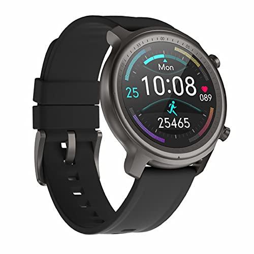 QFSLR Smartwatch Reloj Deportivo con Llamada Bluetooth Monitor De Frecuencia Cardíaca Monitor De Presión Arterial Monitoreo De Oxígeno En Sangre Podómetro Android iOS,Negro