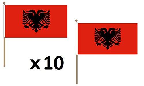 AZ FLAG STOCKFLAGGE ALBANIEN 45x30cm mit holzmast - 10 stück ALBANISCHE STOCKFAHNE 30 x 45 cm - flaggen