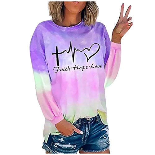 Janly Clearance Sale Blusa de ocio diario para mujer, de moda para mujer, impresión de tie-dye con cuello redondo, manga larga, para otoño e invierno (púrpura-S)