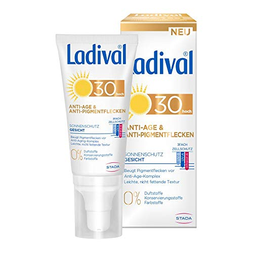 LADIVAL Anti-Age & Anti-Pigmentflecken LSF 30, Parfümfreie Sonnencreme für Gesicht, Hals, Dekolleté und Hände, ohne Farb- und Konservierungsstoffe, 50 ml