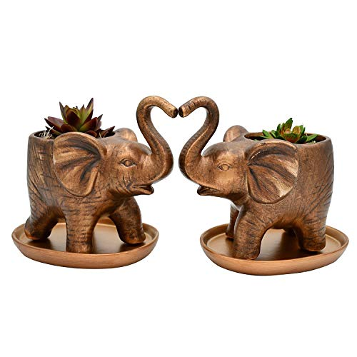 2 Pack Elephant Plant Pots - Ceramic Pots for Plants, Flower Pots Indoor with Saucer & Drainage, Animal Succulent Pot, Bonsai Pots, Unique Plants Gifts Ideas, Succulent Planters Pots, Elephant Planter