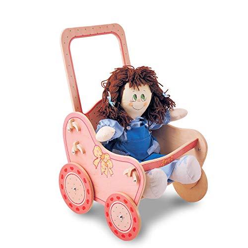 Dida - Cochecito para muñecas de Madera - Decoración: Rosa