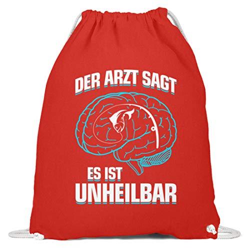shirt-o-magic Angeln: .es ist unheilbar - Baumwoll Gymsac -37cm-46cm-Hellrot