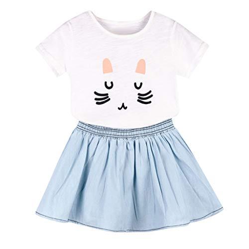 Julhold - Conjunto de Ropa para bebé y niña con Estampado de Gato y Falda de Tela Transpirable Suave y Suave Blanco Blanco 5-6 Años