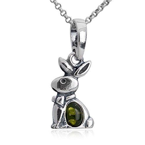 Noda colgante de plata de ley con ámbar teñido verde Conejo y cadena 46 cm