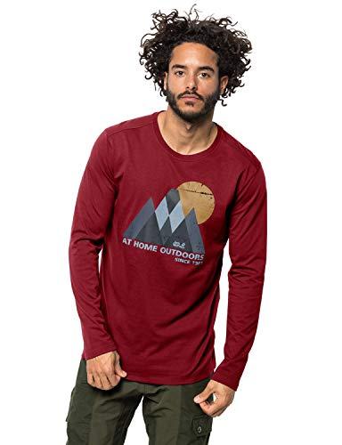 Jack Wolfskin Herren Mountain Langarmshirt, Dark Lacquer red, 7