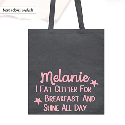 Canvas Shopper Tote Bag, Personalsierte Baumwoll Tasche, I Eat Glitter For Breakfast And Shine All Day Schultertasche