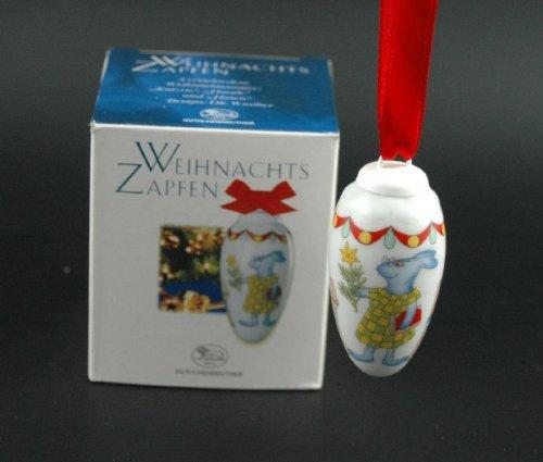 Hutschenreuther Porzellan Mini-Zapfen Hasen, Baumschmuck, Anhänger, Weihnachten, Baumanhänger