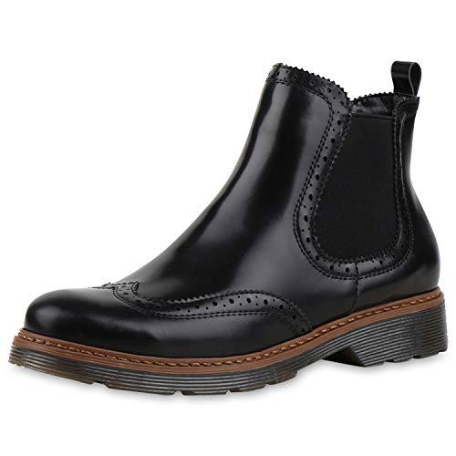SCARPE VITA Damen Chelsea Boots Profilsohle Lochmuster Stiefeletten 165807 Schwarz 38