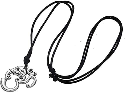 CAISHENY Collar con Colgante Color Plata Om Yoga Amuleto Indio Cadena de Cuerda Hombres/Mujer Mandala Collar de Ganesha