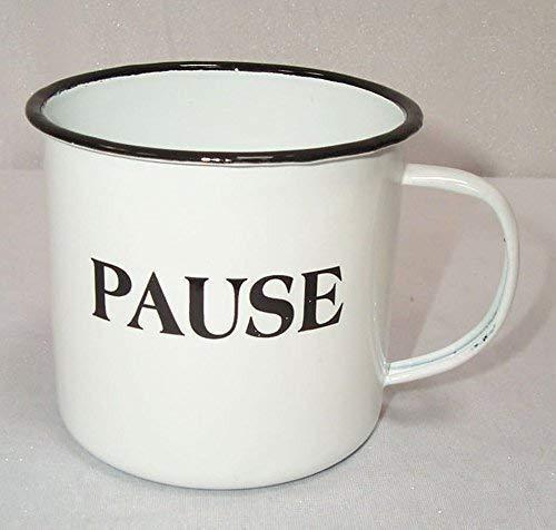 Taille xxl Émail tasse à café, Nostalgie Tasse à anse Pause, blanc- noir