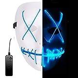 Alxcio LED Light EL Wire Cosplay Maske für Halloween Christmas Party Costume Mask Purge Horror Blau...