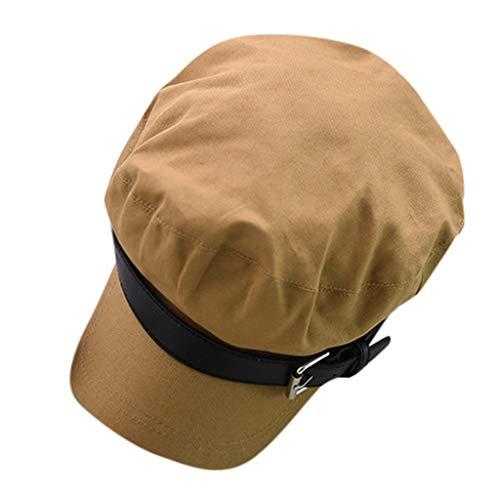 Jamicy -- Hat TM Damen Mädchen Baumwolle Baker Boy Peaked Cap Newsboy Hut achteckig Hut Herbst und Winter Britische Hut Flache Oberseite, einfarbig, Marineblau, Grün - Khaki - Größe: Einheitsgröße