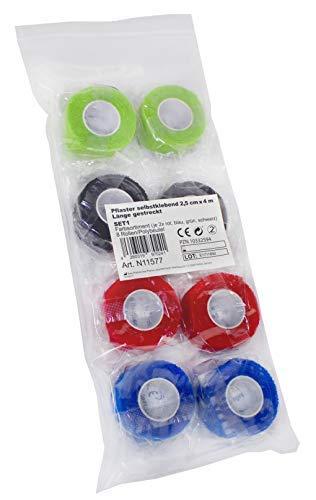Medi-Inn Kohäsive Pflaster Fixierbinden Pflasterverbände selbstklebend 2,5 cm x 4 m (Spar-Set 8 Rollen: 2 x grün, 2 x schwarz, 2 x rot, 2 x blau)