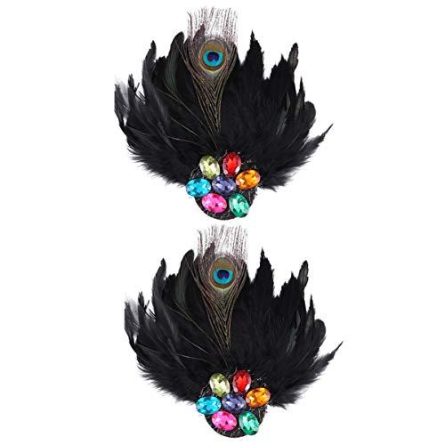 KESYOO 2 Piezas de Diamantes de Imitación de Plumas de Pavo Real Broche de Ropa Broche de Joyería para Mujeres
