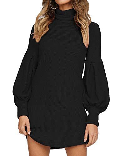 Auxo Vestido a Punto Cuello Alto Suéter Larga Elegante Clásico para Mujer Jerséy para Otoño Invierno Fiesta Cóctel Noche Fiesta Cóctel Noche