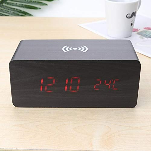 Mdsfe Reloj electrónico Digital Reloj de Mesa LED Brillo RelojDespertadorAjustableReloj Colgante de Pared de Moda con Cable USB Reloj de Pared - 11 Madera