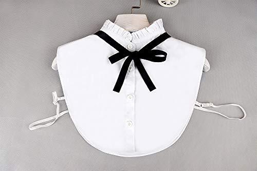 Yulakes Fashion Kragen Vintage Elegante Damenhalb Fälschungs-Kragen Fake Hemd Bluse Kragen Weiß Abnehmbare Hälfte Hemd-Style 5