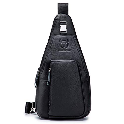 BULLCAPTAIN Genuine Leather Men Bag Travel Sling Pack Durable Cross Body Mens Back Packs with...