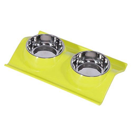 Yosoo Double Perro Tazón En Varios Colores Cena Antideslizante De Acero Inoxidable De Viaje Puppy Gato Comida Alimentador De Agua