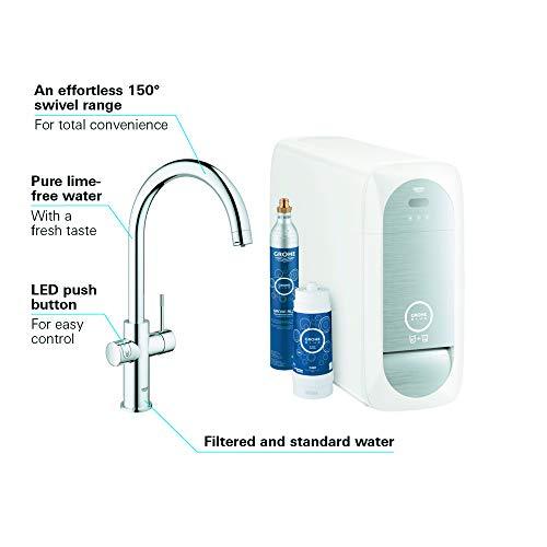 Grohe Blue Home Duo – 2-in-1 Trinkwassersystem und Küchenarmatur (gekühlt, gefiltert, mit Kohlensäure, C-Auslauf) 31455000 - 6