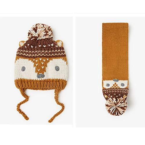 ZYSWP MZWJTZKD Nuevo Invierno Cálido Animal Diseño Fox Estilo Sombrero de Punto y Sistemas de Bufanda para Niños Bebé Niños Niños (Size : Medium)