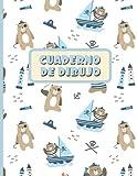 CUADERNO DE DIBUJO: Bloc de 100 paginas en blanco | Libreta infantil para dibujar | Regalo creativo para niños amantes de los animales | Lindo diseño de ositos piratas.