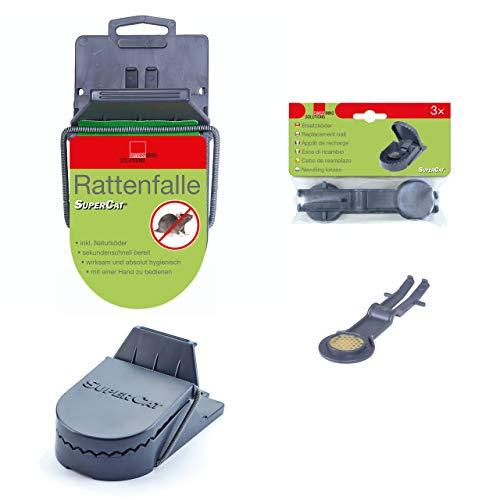 SuperCat Rattenfalle inkl. 3er Ersatz-Köder: Effiziente Schlagfalle inkl. giftfreiem Natur-Rattenköder