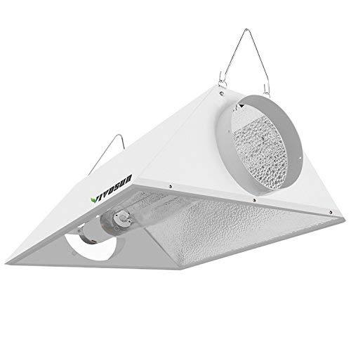 "VIVOSUN Hydroponics 6"" Air Cooled Grow Light Reflector for 250/400/600/1000W HPS/MH Bulbs - High-Reflectivity Vega Aluminum Hood- with 1 Pair Rope Hanger, No Bulbs Included."