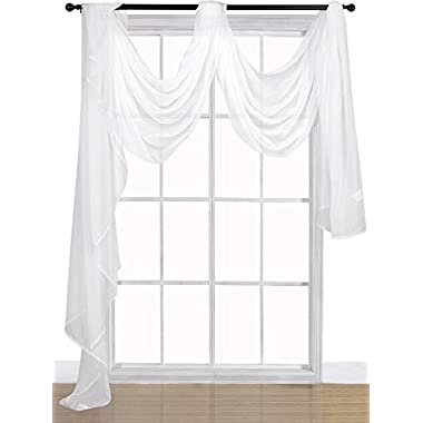 Utopia Bedding Premium White Sheer Scarves - Sheer Window Curtains - White Luxurious - 54 by 216 Inches - by