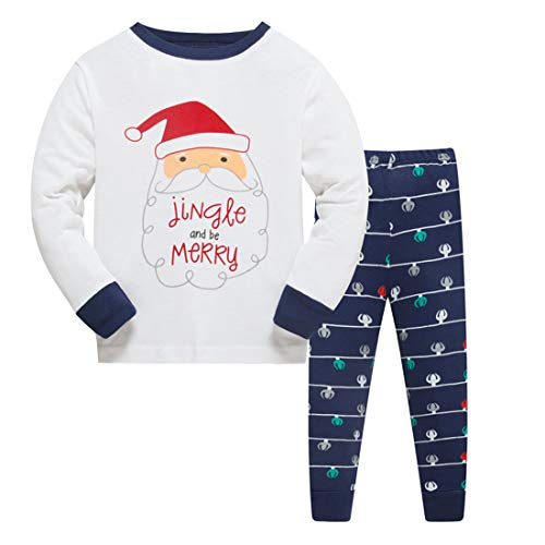 Image of Blue Jingle Santa Pajamas for Boys and Toddler Boys