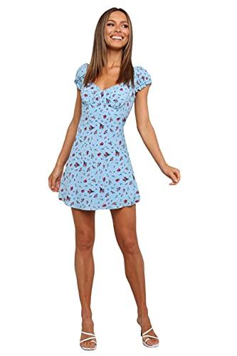 QPXZ Trajes De Vestir para Mujer Vestido Estampado con Falda Acampanada Y Manga Corta con Cuello En V Tipo Liguero-A_M