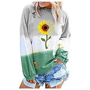NANTE Top Loose Women's Blouse Sunflower Print Gradual Long Sleeve T Shirts Hollow Out Tops Womens Clothes Ladies Clothing (Green, S)