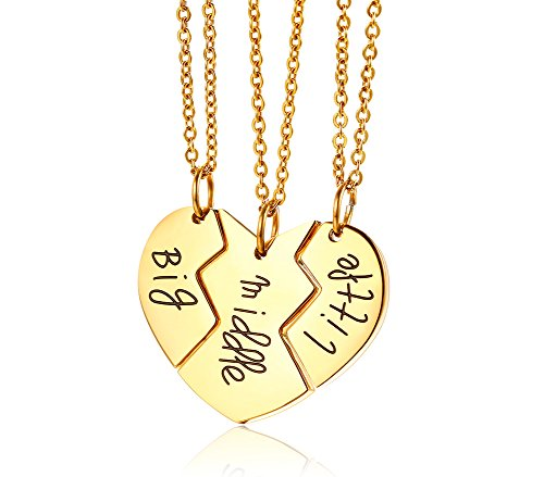 Mealguet Jewelry Gold Plated Split Matching Heart Shape Big Middle Little Sis BFF Best Friend Necklaces for 3 Sisters, 3 Chains