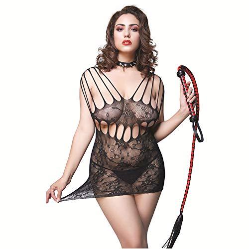 DZJ Lencería Sexy para Mujer Malla Chemise, Body de Mini Vestido de Malla Caliente, Apliques de Mujer Sexy para Mujer Hollow out Elastic/no Incluye látigo