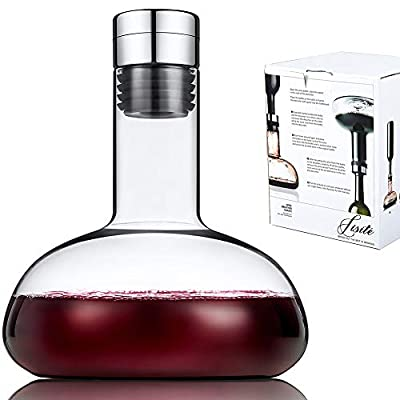 SJ Wine breather Carafe with lid 50oz?100% Hand Blown Crystal glass decanter? Superior Quality Wine Decanter Perfect Gift For Wine