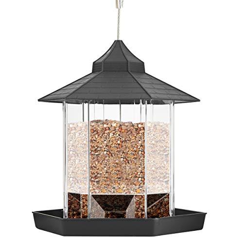 Josopa Wild Bird Feeder Plastic Hanging Panorama with Roof for Garden Backyard Outside Decoration (Black)