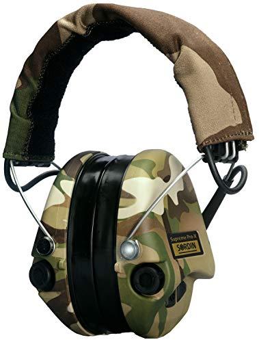 Sordin Supreme Pro X LED Casques Antibruit Électroniques à Forte Atténuation SOR75302-X-08 - Protection Auditive - Coussins en Gel - Coques d'oreilles Camouflage