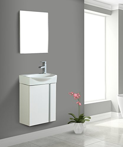 Fine Fixtures Compacto Small Bathroom Vanity Set With Sink -Wall-Mounted Cabinet- Sink top, And Mirror Included (White)